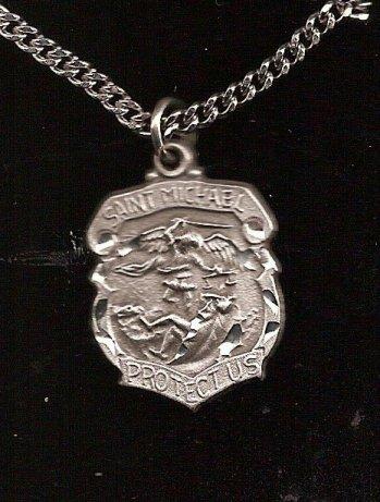 Saint michael 1 diamond cut badge shape pendant necklace and saint michael 1 diamond cut badge shape pendant necklace and stainless steel chain mozeypictures Gallery