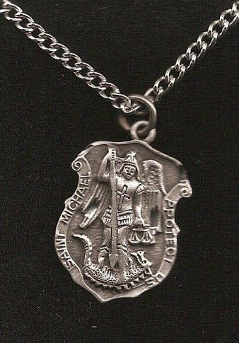 1 saint michael badge style necklace pendant and 24 stainless pewter saint michael 1 badge style necklace pendant on 24 stainless steel chain a beautifully detailed necklace with a strong finely cut image of saint mozeypictures Gallery