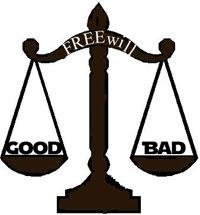 Judicial scale labelled free will balancing good and bad.