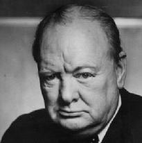 This is a photograph of Winston Churchill looking a bit miserable.