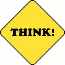 Abright yellow sign that says THINK