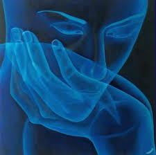 This is a modern art characterization in blue of a person thinking with their chin in their hand.