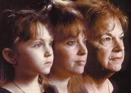 This is a picture of the same person at three stages of life: as a young girl, an adult and an elder.