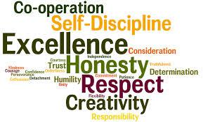 This is a decorative and colorful listing of many virtues such as honesty, self-discipline and respect.