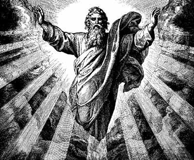 A black and white image of God the Father with arms out stretched and rays of light all around him