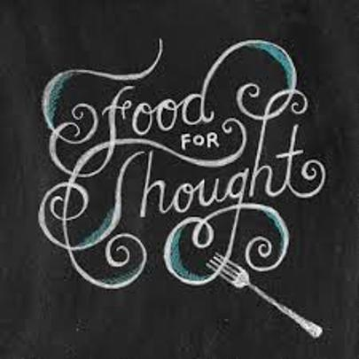 The cursive sign with a fork at the bottom reads: Food for Thought