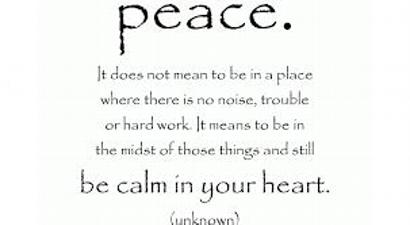 "This sign reads: ""Peace: It does not mean to be in a place where there is no noise, trouble or hard work. it means to be in the midst of those things and still be calm in your heart."